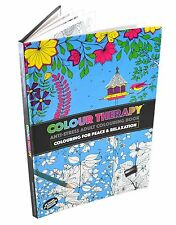 Colour Therapy Adult A4 88 Pages Hard Back Anti Stress Colouring Book Brand New