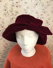 Velvet Vtg Holiday Hat Bow Wide Brim Blossom 1990's Burgundy Velour