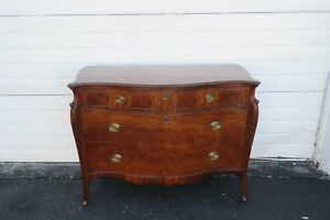 Early 1900s Flame Mahogany Serpentine Dresser 2011
