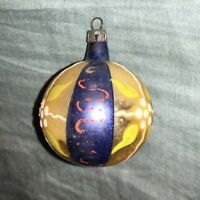 Vintage - Glass Christmas Ornament - Blue & Gold