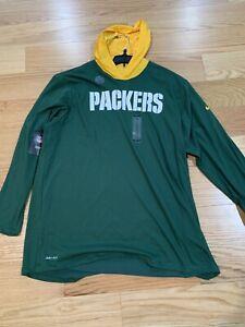 Nike NFL Green Bay Packers Tee Hoodie Helmet Long Sleeve Green Bq5109-323 XXL