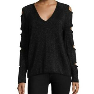 Skull Cashmere Metallic Black Tyrone Cutout Sleeve Sweater Size XS Womens