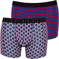 Scotch & Soda 2-Pack Geo & Stripe Print Men's Boxer Briefs, Blue/Claret
