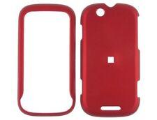 Rubber Coated Plastic Phone Case Red For Motorola CLIQ