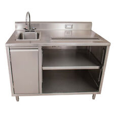 """Bk Resources Bevt-3048L 48 00006000 34;x30"""" Stainless Steel Beverage Table w/ Sink on Left"""