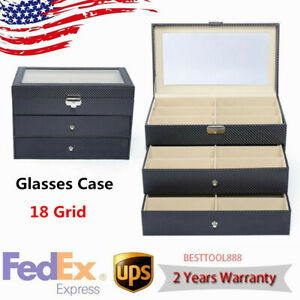 18 Slot Eyeglass Sunglasses Glasses Storage Display Grid Stand Box Holder