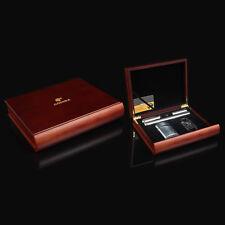 COHIBA Red Sandal Wood Cigar Humidor Cutter Lighter 2 Tube Set