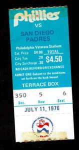 1976 Philadelphia Phillies vs San Diego Padres Ticket Stub 7/11