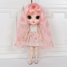Blythe Nude Doll from Factory Pink +White Hair Make-up Eyebrow Sleeping Eye
