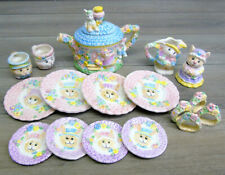 VTG 1994 Mercuries TEA SET Easter Bunny Rabbit Tea Pot Cups Plates Sugar Creamer