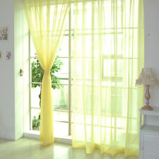 1/2pcs Home Decor Tulle Voile Window Drape Panel Sheer Scarf Valances Curtain Yellow 1 PC