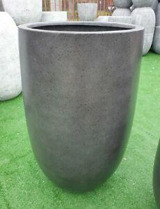 Outdoor Garden Patio Plant Pot Round Planter Modstone Tall Curved Egg Grey