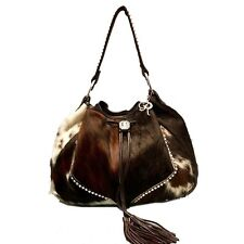 Raviani Brindle Hair On Leather Drawstring Bag  W/ Crystals #1211