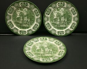Ironstone Staffordshire Green Tableware 3 Dinner Plates Made In England