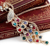 Charm Women Gold Plated Crystal Peacock Pendant Necklace Sweater Chain Jewelry