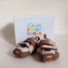 Clarks boys First Shoes Little Tyler Brown Suede twin Strap With Box Size 2.5 H