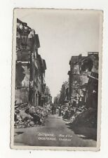 Ostende Rue D'Est Belgium Vintage RP War Damage Postcard 497a