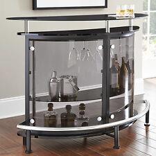 Black Tempered Glass Bar Counter w/ Wine Storage Footrest Home Dining Furniture