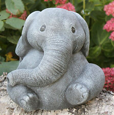 Steinfigur Elefant Steinguss Schiefergrau Gartendeko Dekofigur frostfest