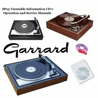 Garrard SP25 turntable record player service instruction owner manuals cd-r