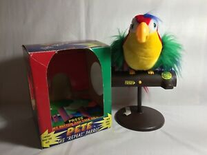 Pete the Repeat Parrot on Perch with Box