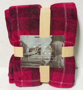 """Home Collection Flannel Throw Blanket 50"""" x 60"""" Pink Polyester Couch Sofa NEW!"""
