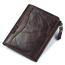 RFID Genuine Leather Mens Wallet Short Card Holder Purse Antimagnetic Double Zip