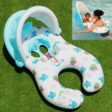 Inflatable Mother Baby Swim Ring Float Raft Kids Seat Swimming Pool UV Cover UK