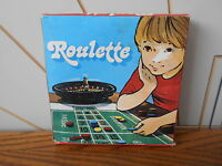 SMALL ROULETTE WHEEL SET vintage gambling game, mat, counters, complete