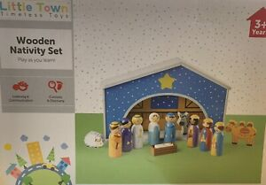NEW & BOXED Little Town Wooden Nativity Scene