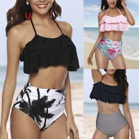 Damen Hohe Taille Volant Neckholder Bikini Set Tankini Schwimmanzug Badeanzug P/