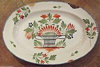 Ancien plat de faïence de l'Est WALY 18 ème ,19 ème  décor floral fêlure vintage
