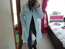 Vtg  TopShop Pastel Blue Faux Fur Collar Wool Mix Duster Trench Coat 8 10 12