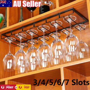 Wine Glass Rack Holder Hanger Hanging Bar Shelf Free Screws ROWS Wall Mounted AU