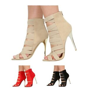 WOMENS HIGH HEEL ELASTIC STRAPPY GLADIATOR CAGED LADIES SANDALS SHOES
