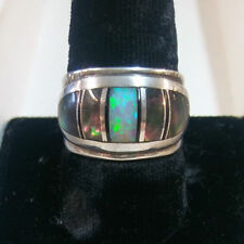 James Lee Navajo Contemporary Inlay Ring Abalone Opal Sterling Silver sz 9.5