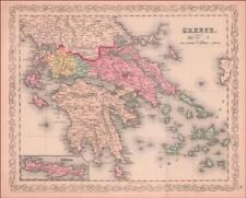 GREECE, ANTIQUE MAP, ORIGINAL, Desilver, Hand Colored Engraving 1859