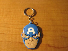CAPTAIN AMERICA Automobile Keychain Key Chain PVC Rubber FOB Metal Ring MARVEL