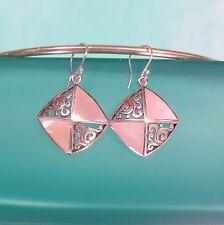"1"" Mother of Pearl Shell 925 Sterling Silver Filigree Handmade Drop Earrings"