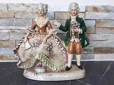 Vintage porcelain german grafenthal Figurine Lady Man GDR Flower