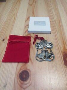 MIB 1999 Avon Season of Peace Pewter Ornament Red Velvet Case Doves Bells Bow