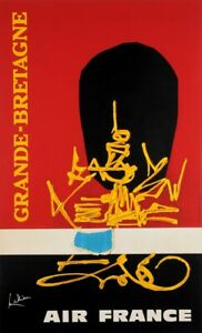 """Original French Poster """"Air France Great Bretagne"""" by MATHIEU GEORGES 1960's"""