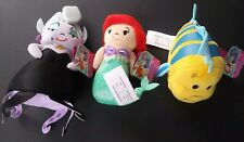 Little Mermaid Disney Princess Plush Lot of 3 Ursala Ariel Flounder