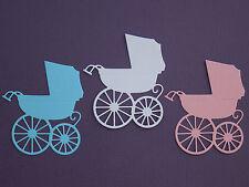 Baby Pram Carriage Paper Die Cuts x 10 Scrapbooking Card Topper Embellishment
