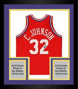 Frmd Magic Johnson LA Lakers Signed Red M&N 1981 All-Star Game Authentic Jersey