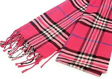 """Cashmere Scarf, Italy Design, Pink Black Plaid, NWOT, Winter Scarf, Fringed, 72"""""""