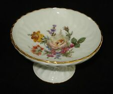 LIMOGES FRANCE COMPOTE CANDY DISH WITH FLOWERS & LEAVES SCALLOPED RIM GOLD TRIM