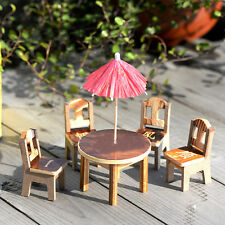 Family Miniature Furniture Wooden Mini Dining Room Table & 4 Chairs Set Toys