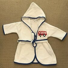 Nwot! Mullins Square Kids Cotton Long Sleeve White Hooded Terry Firetruck Robe