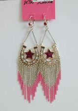 Betsey Johnson Flights of Fancy Horseshoe Star Fringe Chandelier Earrings NWT
